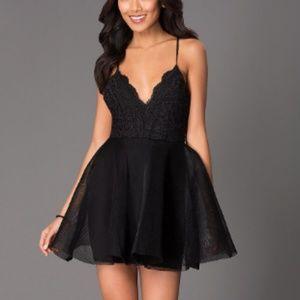 Short V-Neck Black Dress